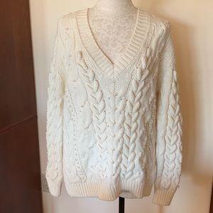 Zara Knit Pearl Cable Oversize V Neck Sweater S